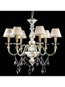 Chandelier White Wood Crystal Shades Classic Tp 186-la-6-17