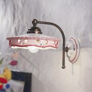 Wall Light Classic White Ceramic Brown Decorated By Hand