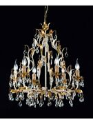 Chandelier Classic In Leaf Gold With Charms Crystal Tp 174-la-6-06
