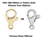 14k 18k White Or Yellow Gold Tear Drop Lobster Claw Trigger Clasp Hook W/ring
