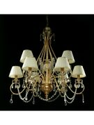 Chandelier Classic Gold With Shades And Crystal Tp 218-la-6+3-01