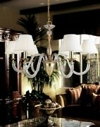 Suspended Lights Classic Metal And Crystal Silver White Gold