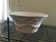 St. Nicholas Square Traditions Large Serving Bowl White Embossed Garland 11andrdquo