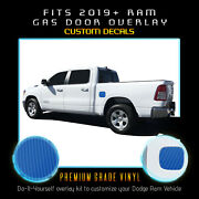 For 2019 2020+ Ram 1500 Gas Door Square Overlay Pre Cut Decal - 4d Carbon Fiber