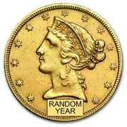 Special Price 5 Liberty Gold Half Eagle Cleaned