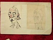 Vintage Unpublished F Bickmore Drawing Two Portraits  Fc70-87