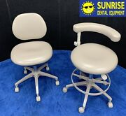Adec 1601 And 1622 Dental Doctor And Assistant Stool Set - Used Vinyl Upholstery