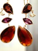Amazing Garnet And Diamond One Of A Kind 14k Yellow Gold Earrings