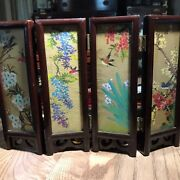 5 Vintage Chinese Table Top Screens Hand Painted Silk And Marble Hand Carved