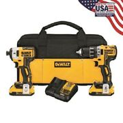 Dewalt Dck283d2 20v Brushless Compact Drill/driver 3 Speed Impact Combo C1