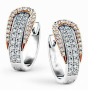 1.95ct Natural Round Diamond 14k Solid White Rose Gold Clip On Hoops Earring