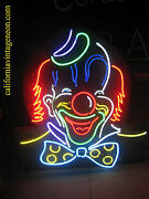 Vintage 1980and039s Neon Circus Clown Antique /carnival Collectible Beautiful