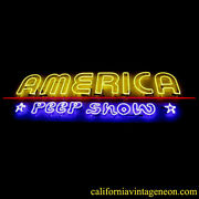Vintage 1980and039s America Peep Show Large Neon Sign / Single Sided Antique