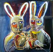 Auguste Blackman Tea Bunnies - Big Signed Oil Painting Whimsical Modern Rabbits