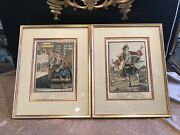 Pair Of French Framed And Matted Antique Prints