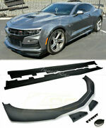 For 19-up Camaro Ss Zl1 1le Style Front Lip Splitter And Side Skirts Primer Black