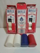 3x Vintage Hoyle Poker Chips 100 Count 1992 Nos Set Made In Usa Red White Blue