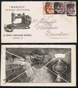 1896 Wanzer Sewing Machines All Over Advertising Envelope Superb London Dresden