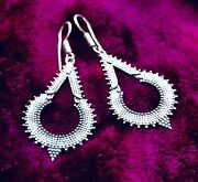 Silver Plated Handcrafted Dotwork Hook Earrings - Boho Unique Ladies Gift Ideas