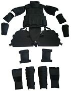 Black Xxl Set Body Armor Gear Protection Bulletproof Tactical Vest And Pads