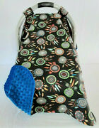 Infant Car Seat Canopy Cotton Blue Dream Catcher Baby Blue Minky Dot Embroidery