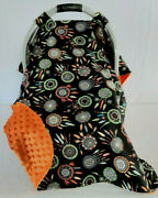 Infant Car Seat Canopy Cotton Dream Catcher Baby Orange Minky Lining Embroidery