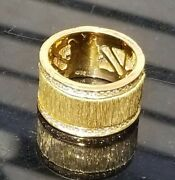 1.00 Ctw. Genuine Diamond 18k Yellow Gold Wide Cigar Band Ring 13 Grams Size 7.5