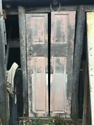 Vtg Pair Solid Wood Shutter Door Panels Painted Shabby Pink 15in X 73in Pannels