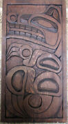 Nw Coast Native Indian Carved Bear Red Cedar Panel By Randy D. 17 X 9