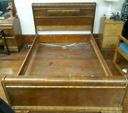 Antique Full Size Federal Style Bed Frame Headboard Footboard And Rails Oldie