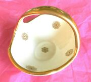 Vtg Bel-terr China 22 Kt Gold Candy Dish Single Handle Made In Usa