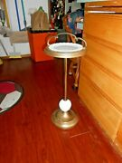 Deco Mid Century Ash Tray Stand Candy Dish Brass/milk Glass Depressed 28