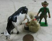 Vintage Cast Lead Britains Johill Lady Milking Cow And Guy With Pail Farm