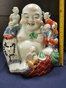 Huge13 Antique Chinese Famille Rose Porcelain Laughing Buddha 340mm High