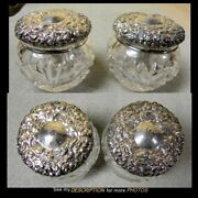 Antique Pair Unger Bros Sterling Silver And Cut Glass Vanity Jars Diamond And Fan