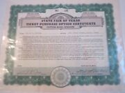 1950 State Fair Of Texas Stock Certificate Signed By E. O. Rushing - Zzz