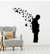 Vinyl Wall Decal Soldier With Weapon Military Birds Patriotic Stickers G2945