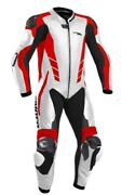 Gimoto Monza Size 52 Men's Leather Suit Motorcycle One Piece Racing White Red