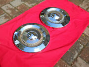 And03957 Ford Hubcaps 10 1/4 Inside Diameter Used Pair Nice