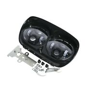Dual Led Headlight Assembly Hi/lo Beam 80w Fit For Harley Road Glide Fltr 98-13