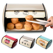 Metal Bread Bin Home Kitchen Storage Loaf Box Food Containers With Roll Top Lid