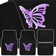 Carxs Purple Butterfly Front And Rear Carpet Mats Car Auto Van Suv Trucks 4 Pc