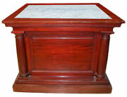 6746 Large Antique Marble Top Pedestal Executed In Mahogany