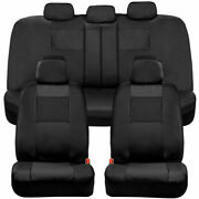 Bdk Two-tone Full Set Pu Leather Front And Rear Car Seat Covers - Black
