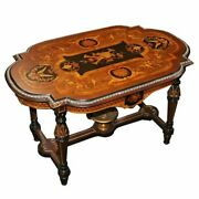 6684 Antique American Victorian Inlaid Coffee Table C. 1880