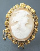 Vintage Womens Hand Carved Shell Cameo Brooch 9ct Yellow Gold Fine Jewelry