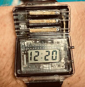 Retro 1980s Water Powered Digital Watch New Old Stock Transparent Clear Rare 2
