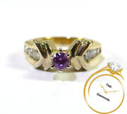 Round Amethyst And Diamond 14k Two Tone Gold Engagement Ring
