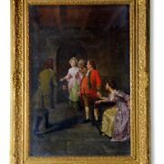4418 Oil On Canvas The Confrontation 19th C. Great Britain Gilt Wood