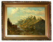 5915 Framed Oil On Canvas Landscape Painting Signed W. Adamson 1912